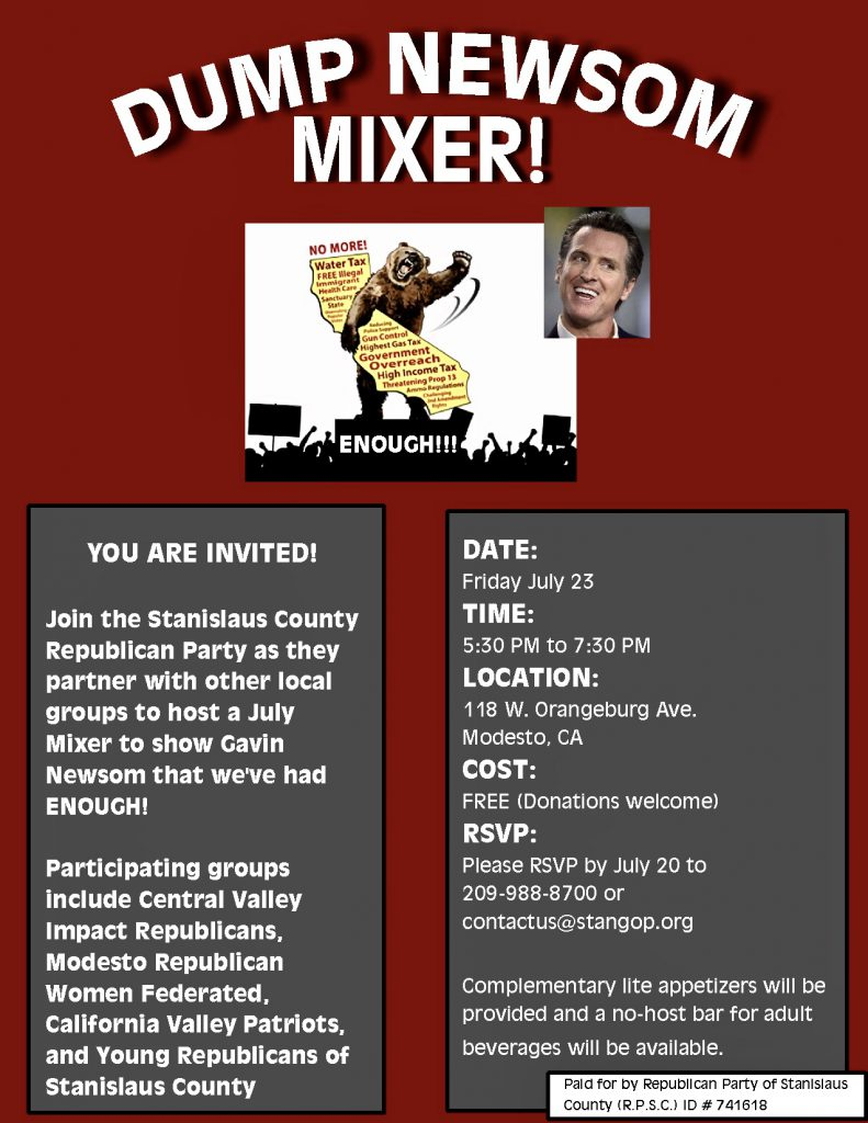 Flyer for Dump Newsom mixer with event details